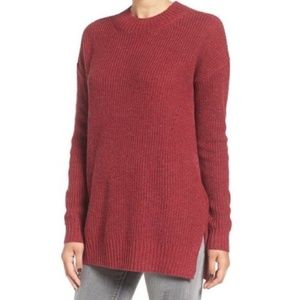 BP Red Ribbed Mock Neck Pullover Chunky Sweater